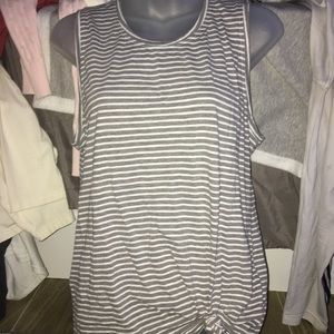 Grey And White Striped Muscle Tee Size M